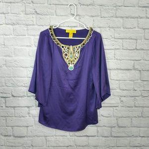Catherine Malandrino | Purple Jewel & Embroidery